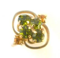 Vintage Sarah Coventry Peridot And Amber Rhinestone Ring.